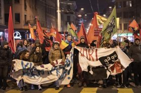 Испукан солзавец и водени топови: Насилни протести во Цирих против форумот во Давос