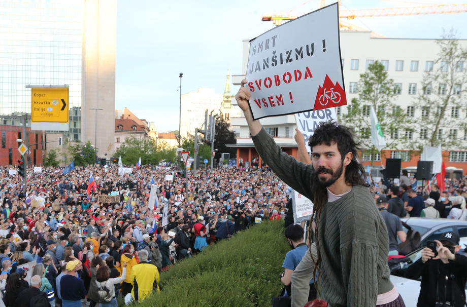 јанша протест Љубљана